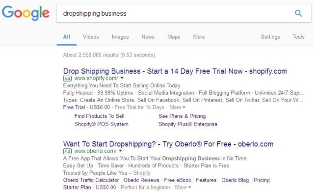 Drop Shipping Trends on Google